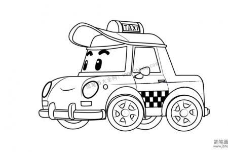 警车珀利出租车凯普简笔画