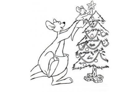 袋鼠在装饰圣诞树