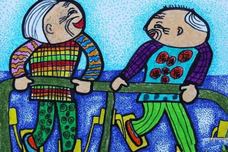爷爷奶奶在锻炼,重阳节之爱老敬老主题画