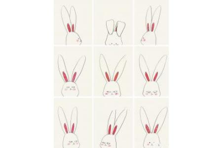9款超萌的兔子头像表情简笔画