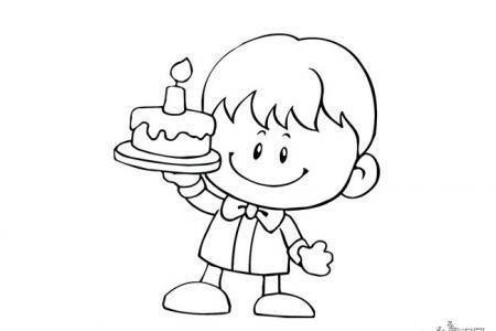 抬着生日蛋糕的小男孩