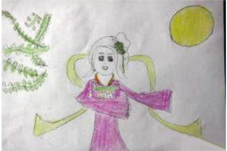 中秋节儿童画范画-举头望明月