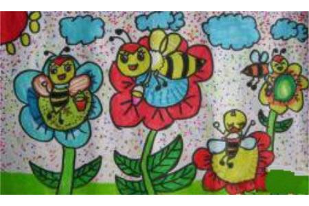 可爱的小蜜蜂水彩画