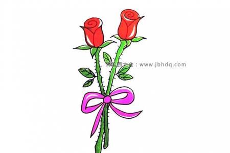 画一束漂亮的红玫瑰