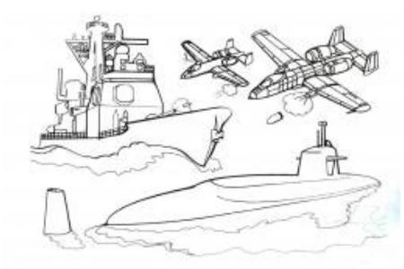 潜艇和战斗机