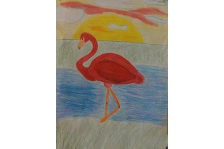 夕阳下的火烈鸟幼儿绘画小鸟作品分享