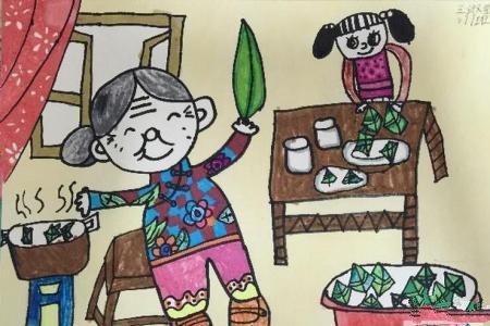 和奶奶一起包粽子端午节民俗画图片欣赏