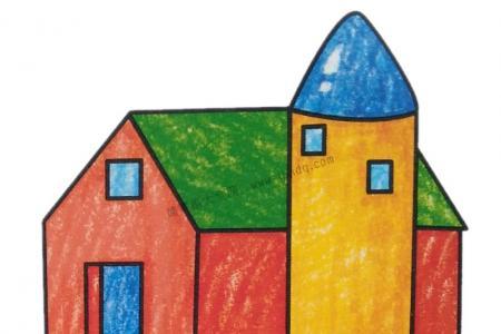 幼儿学画房子简笔画2