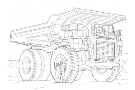 自动倾卸卡车简笔画图片