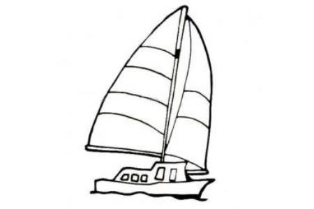 帆船简笔画素材