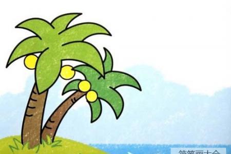 彩绘椰子树简笔画图片