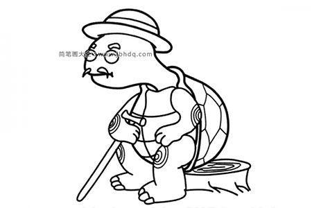 乌龟老爷爷简笔画图片