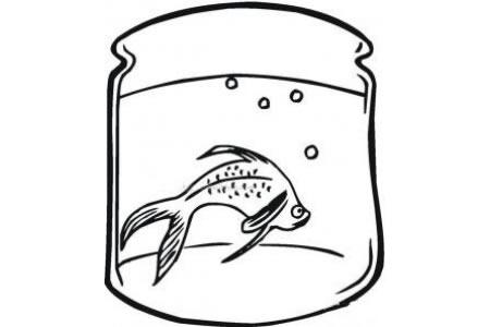 鱼缸里面的金鱼简笔画