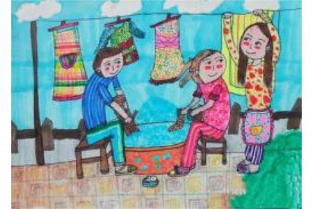 儿童画自己洗衣服