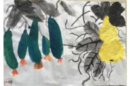丝瓜和葫芦国画蔬菜组合图