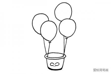 一组漂亮的热气球简笔画图片