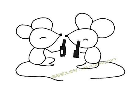 两只老鼠喝酒简笔画图片