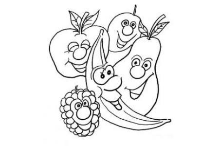 卡通水果家族简笔画图片