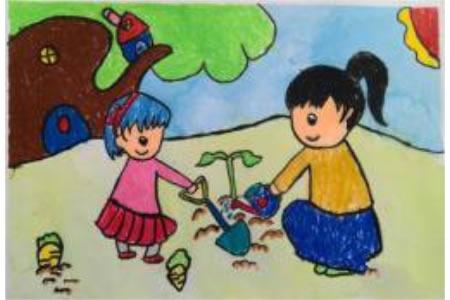 儿童画春天里的妈妈