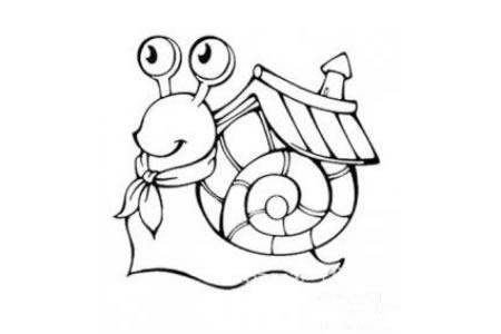 蜗牛搬家简笔画