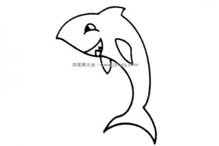 一组卡通鲨鱼简笔画图片