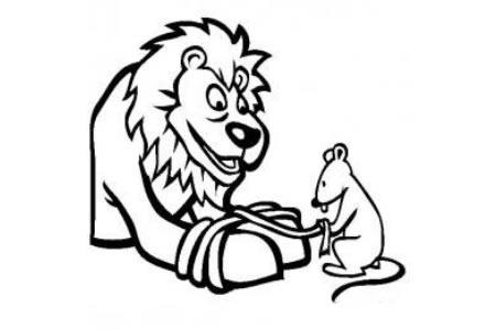 伊索寓言简笔画 狮子和老鼠的故事简笔画