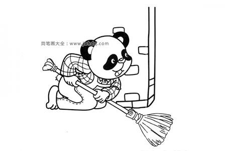 打扫卫生的大熊猫