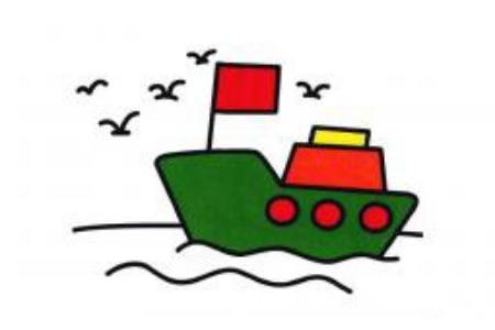 简笔画海上行驶的轮船