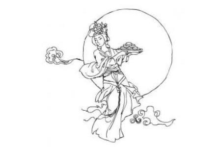 端着月饼的嫦娥简笔画