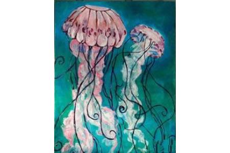 漂亮的水母海底世界主题油画作品欣赏