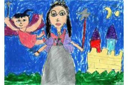 儿童画 妈妈是女神