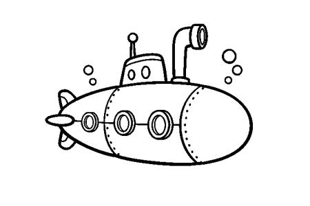 6张卡通潜水艇简笔画