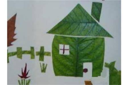 树叶贴画作品:未来的房子