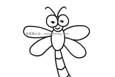 一组可爱的卡通蜻蜓简笔画图片