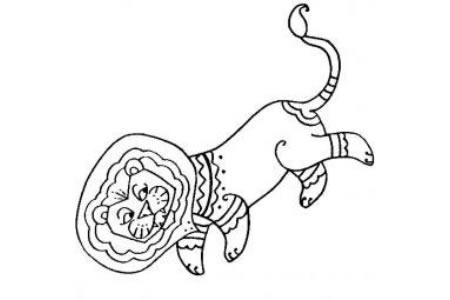 幼儿创意简笔画 华丽的狮子简笔画图片