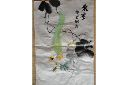 采蜜图国画写意丝瓜