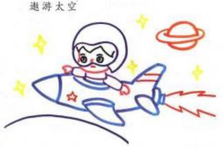 小男孩遨游太空简笔画