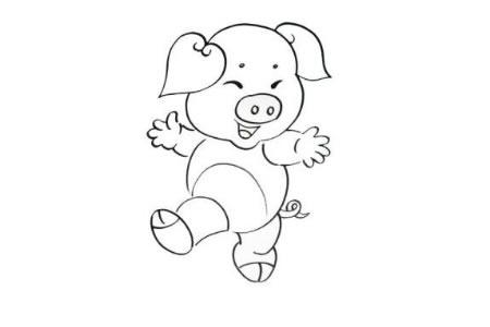 十二生肖小猪的简笔画