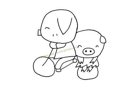 猪爸爸骑车带小猪