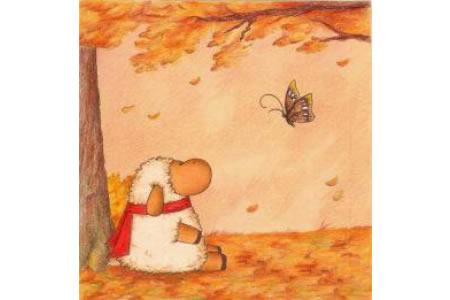 树林里的绵羊绘画 秋天色彩儿童画图片欣赏