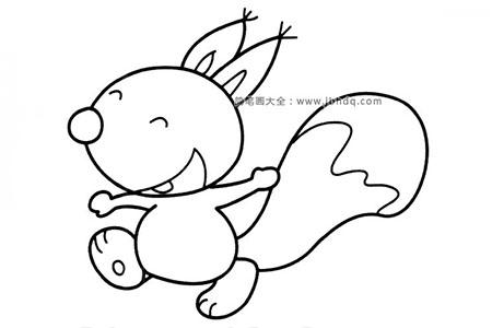 开心的松鼠简笔画