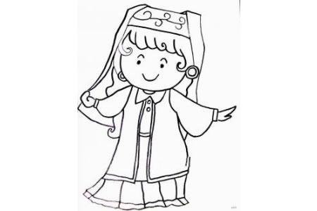 维吾尔族小女孩简笔画