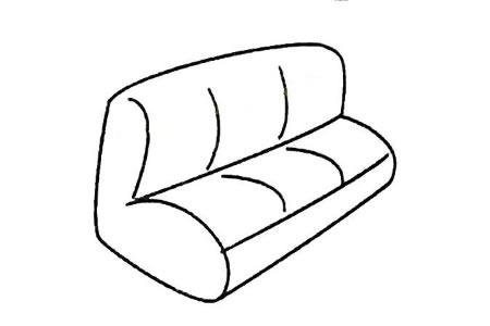 三人位皮沙发简笔画图片
