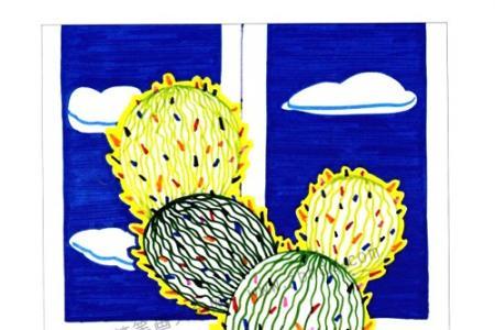 画植物儿童水彩画 仙人掌