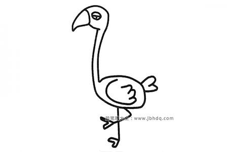 三张漂亮的火烈鸟简笔画图片