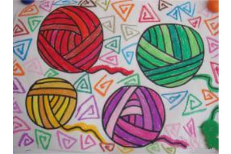 儿童油棒画作品 妈妈的毛线