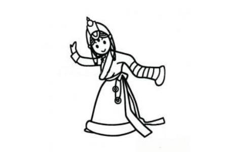 藏族小女孩简笔画图片