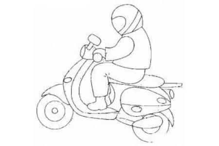 开着摩托车的人简笔画
