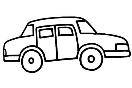 卡通小轿车货车电车小帆船的简笔画