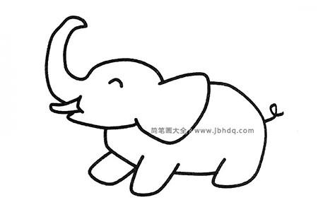 一组可爱调皮的大象简笔画图片